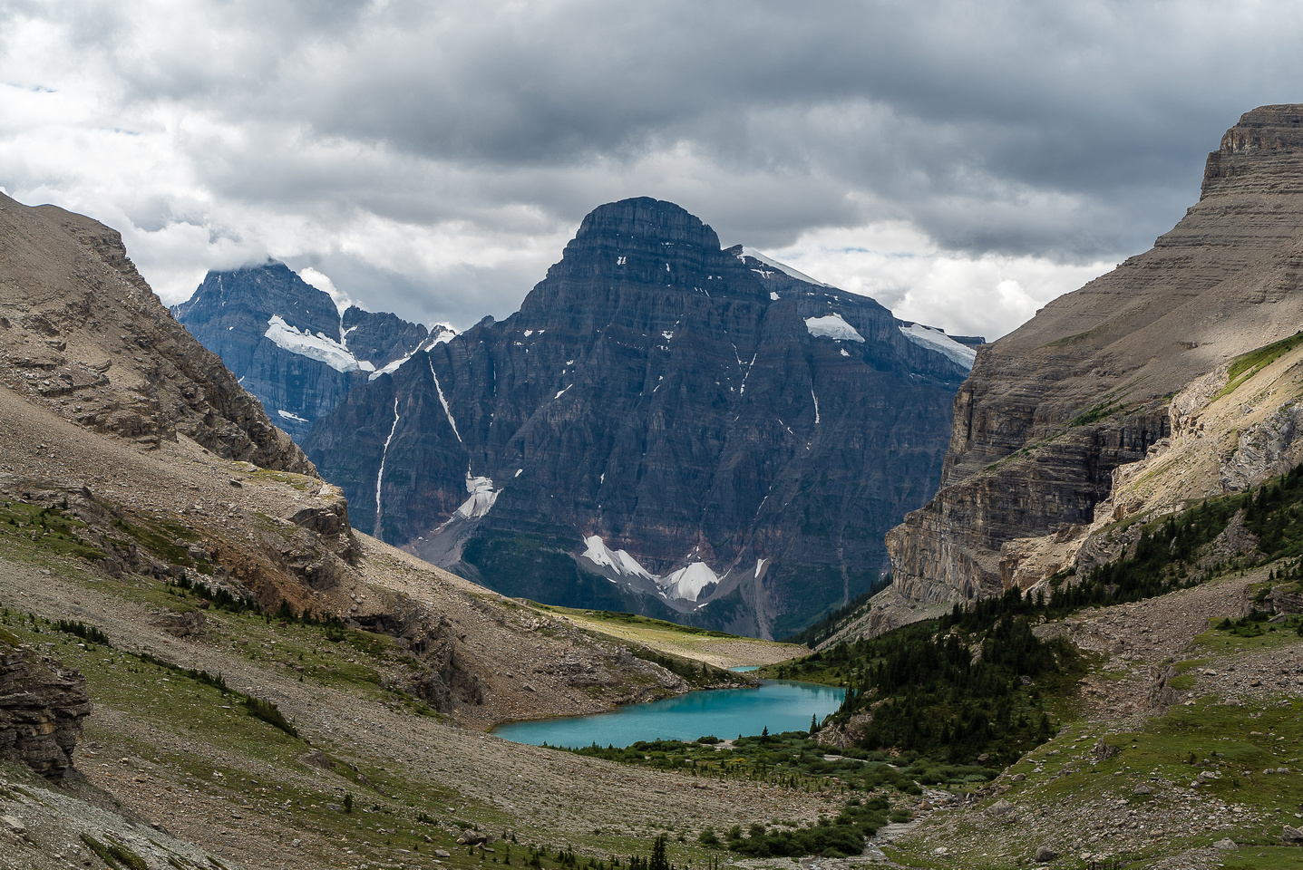 Looking back over the two Lower Totem Lakes with Howse Peak (L) and Chephren (R) in the bg.