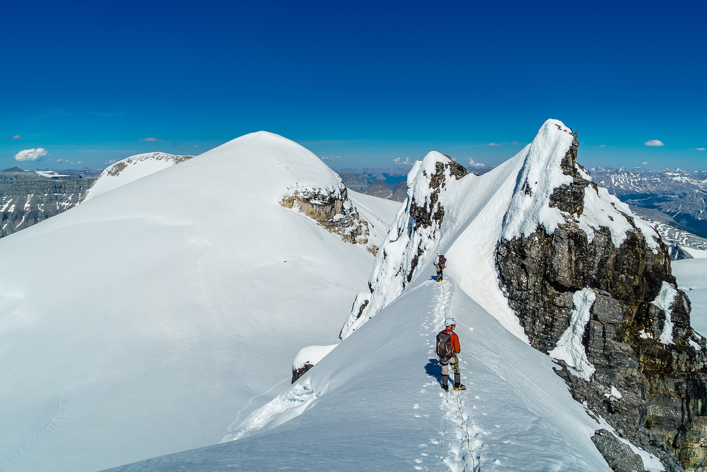 This perch on the east ridge of Ernest Peak offered some of the best views of the weekend. Edward and Rudolph at left.