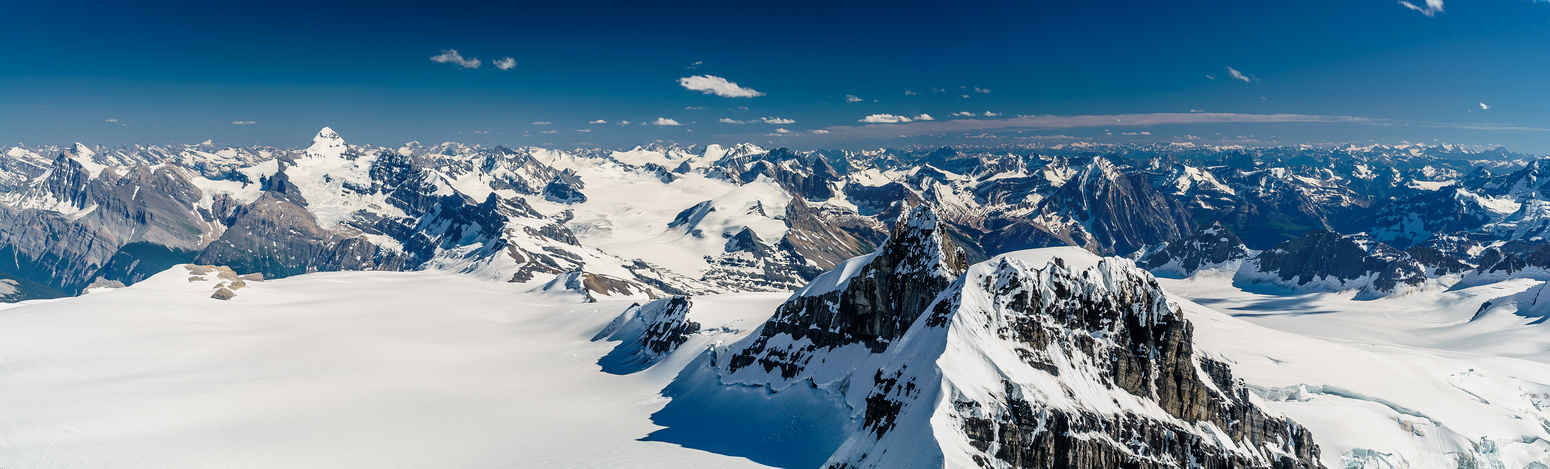 Looking south back towards Forbes, Mons, Christian, Walter and the SW Lyell Glacier at right.
