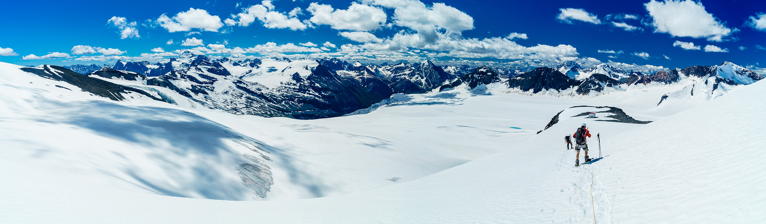 Descending back to the hut, looking over our approach and the Lyell Glacier. Mount Forbes is now visible on the left.
