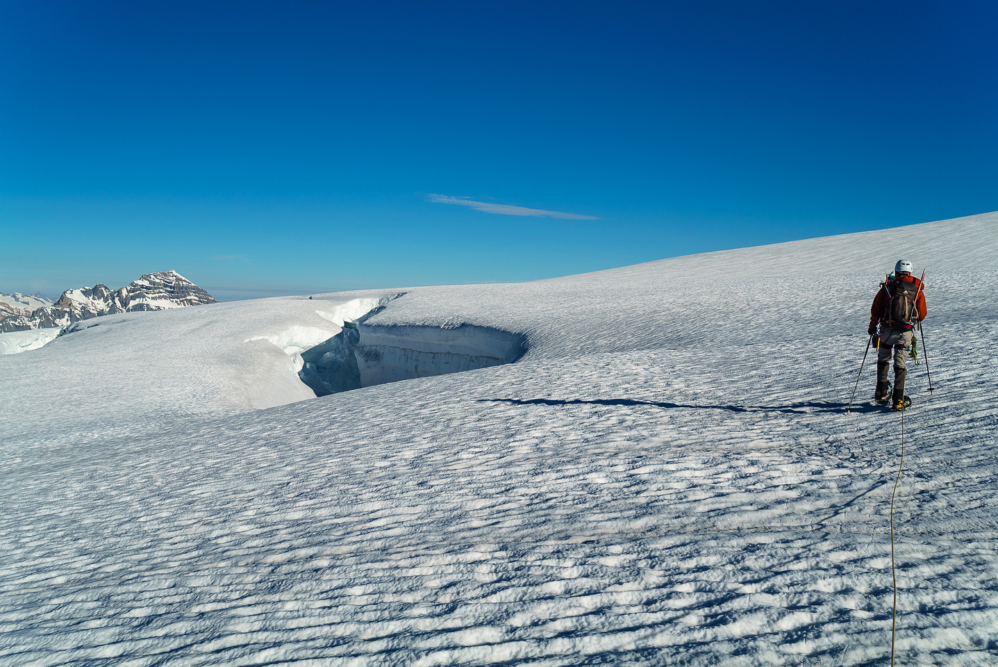 As we start around the western edge of the Lyell Icefield we encounter some pretty big holes.