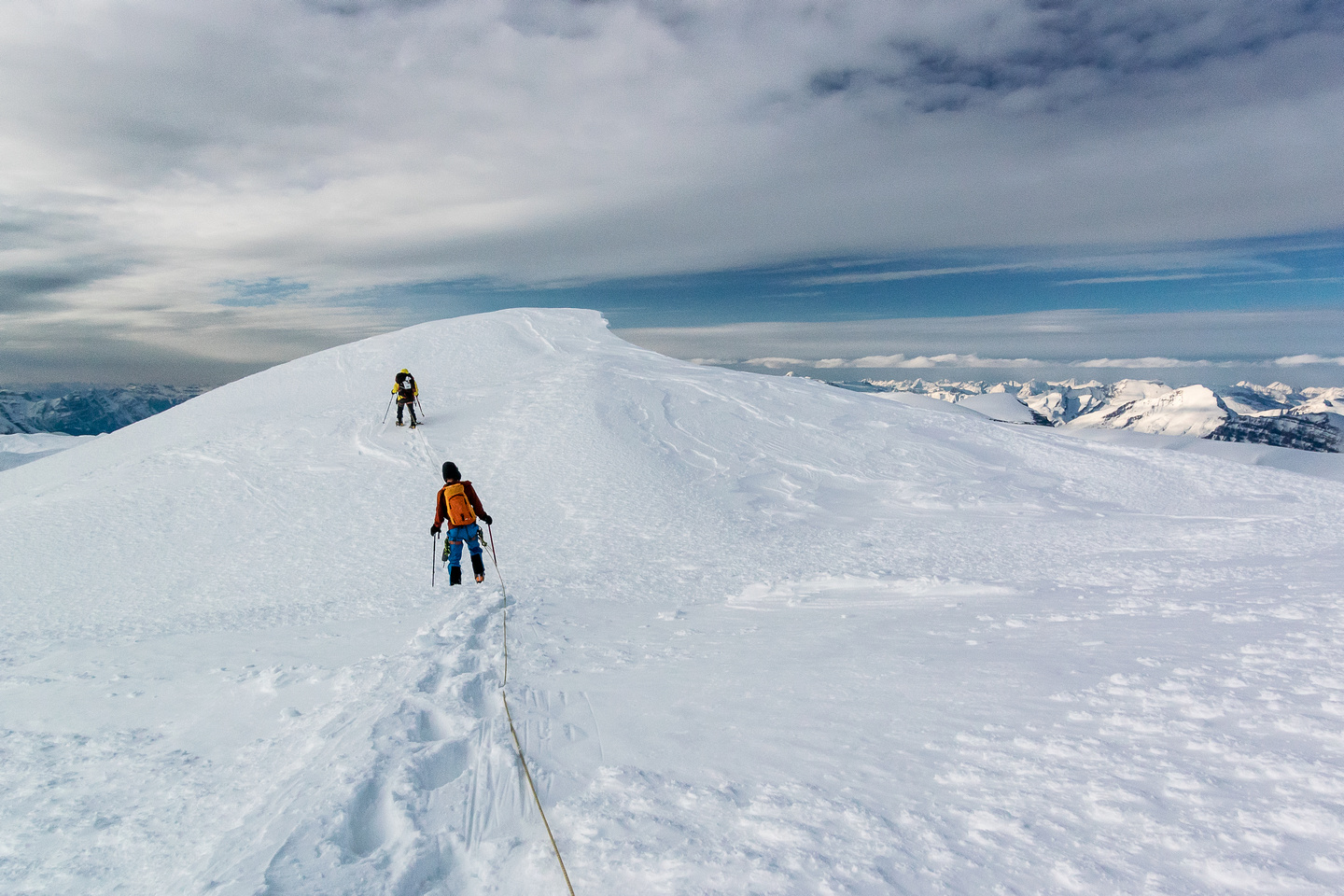Approaching the summit of Alberta's highest peak.