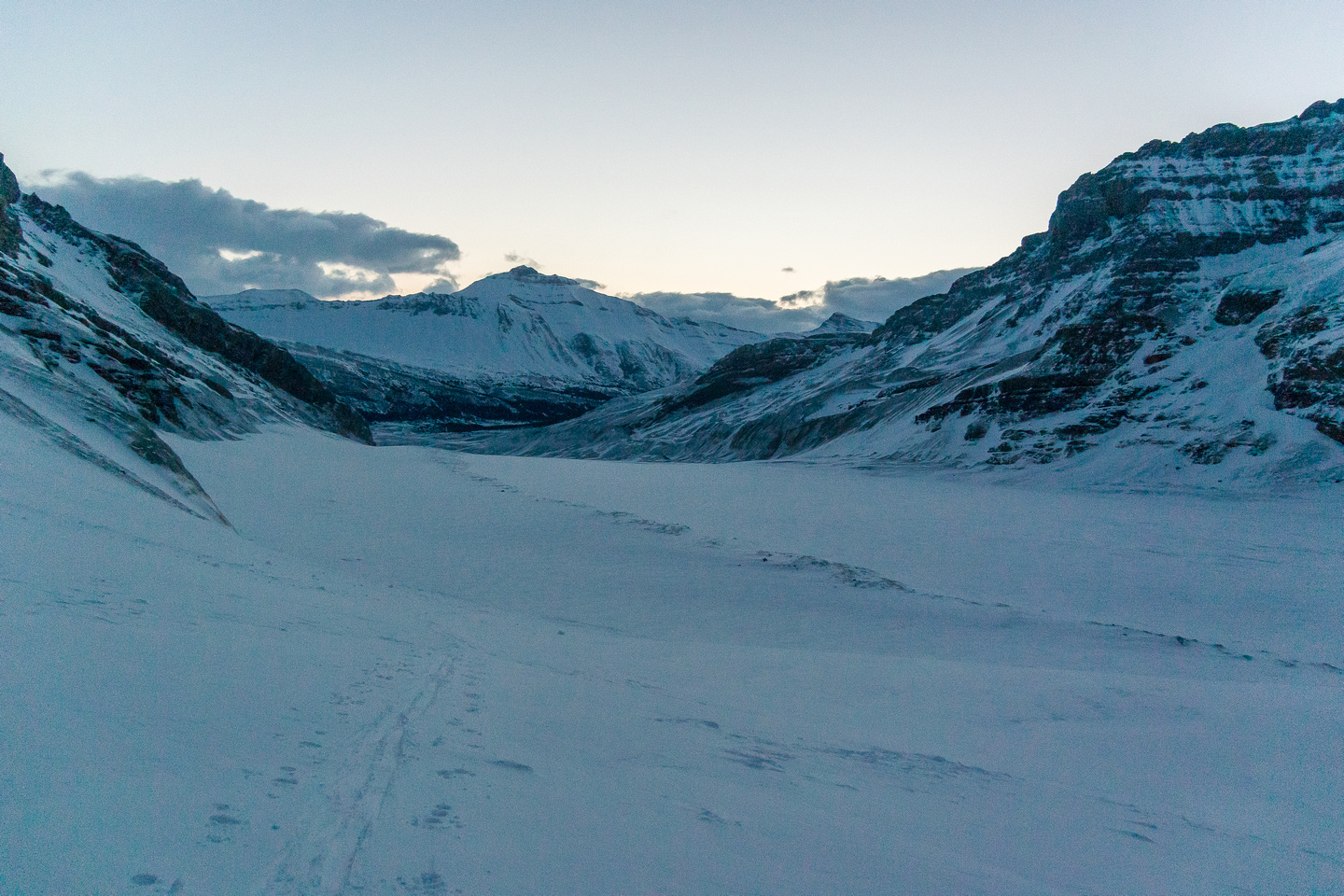 Looking back down the Athabasca Glacier and the long moraine that acts as a nice handrail when visibility is low.