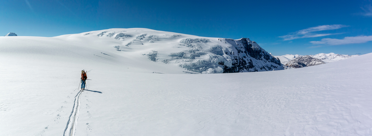 Looking back at camp - barely visible at center - Mount Columbia at distant left and Snow Dome rising at center.