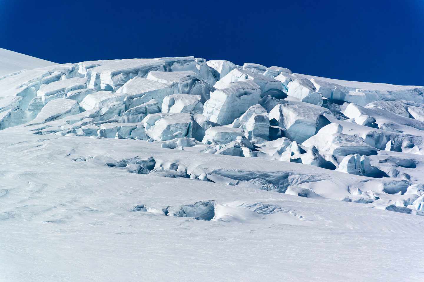 Huge blocks of snow and ice on Snow Dome's southwest flanks.