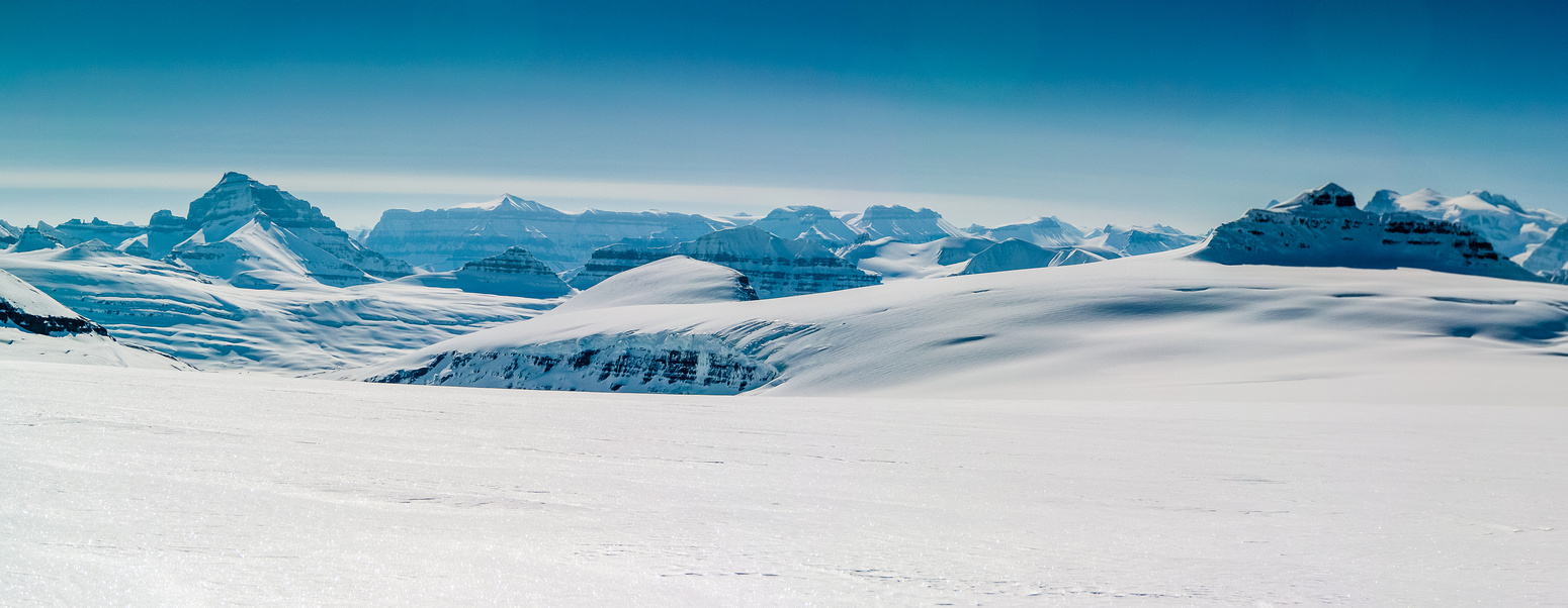 Looking down the Saskatchewan Glacier towards Mount Saskatchewan at distant left with Amery to its right and Castleguard at far right.