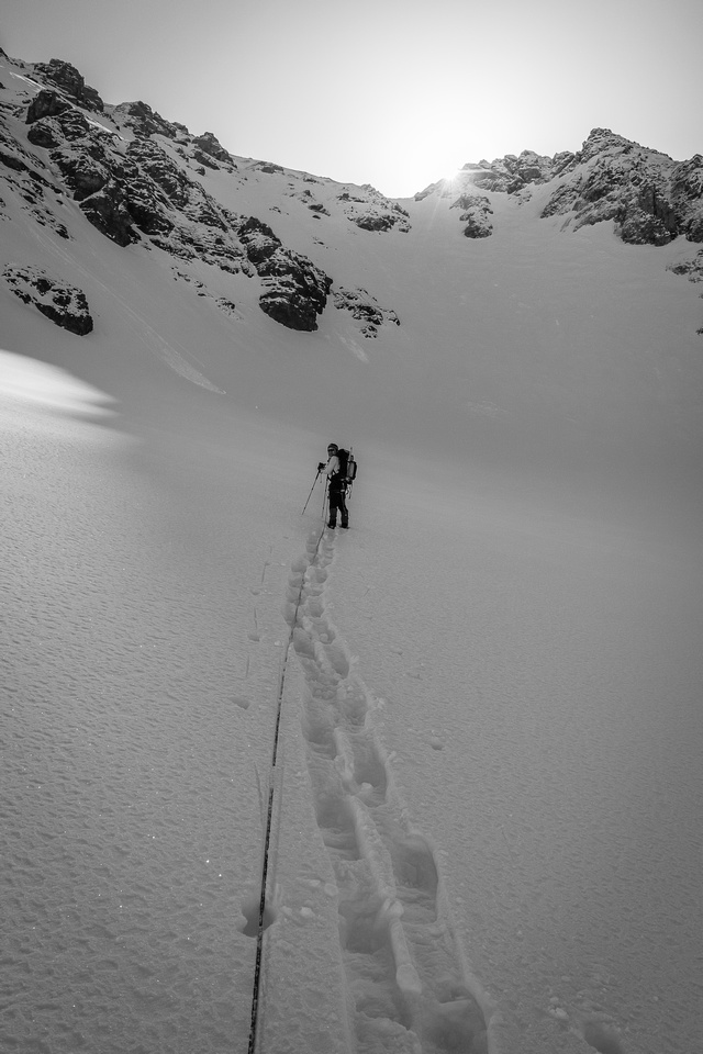 Roped up on the AA Glacier with the AA Col directly ahead and above Ferenc.