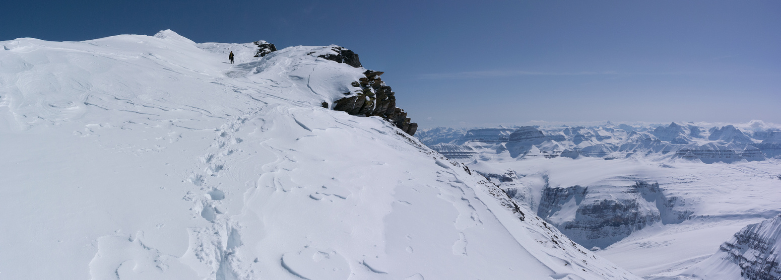 Near the summit, we had to ascend a steep snow bank to the final ridge.