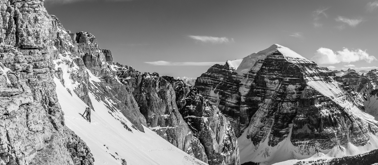 Ben follows us across the upper avy slopes on the south face.