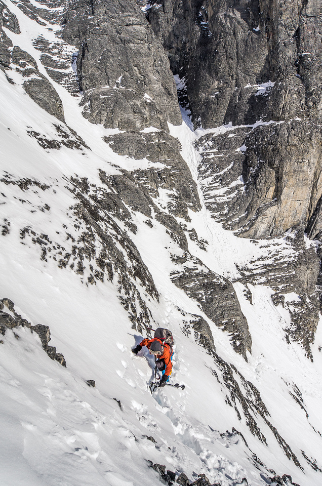"""This photo exaggerates the terrain a bit, but it was """"one-at-a-time"""" across these gullies."""