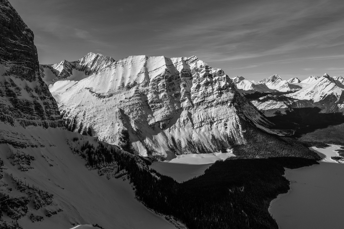 An outlier of Mount Lyautey rises steeply above Hidden Lake - the access to the Aster Lake region goes past this lake.