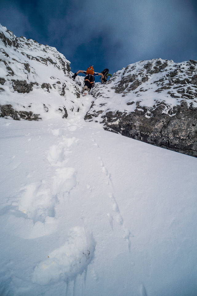 A steep, narrow gully on the SW face.