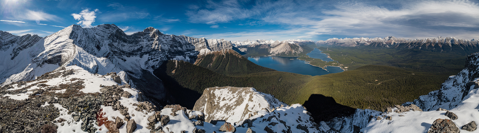 Foch and Sarrail at left, Kananaskis Lakes at center and the Opal Range at distant right.