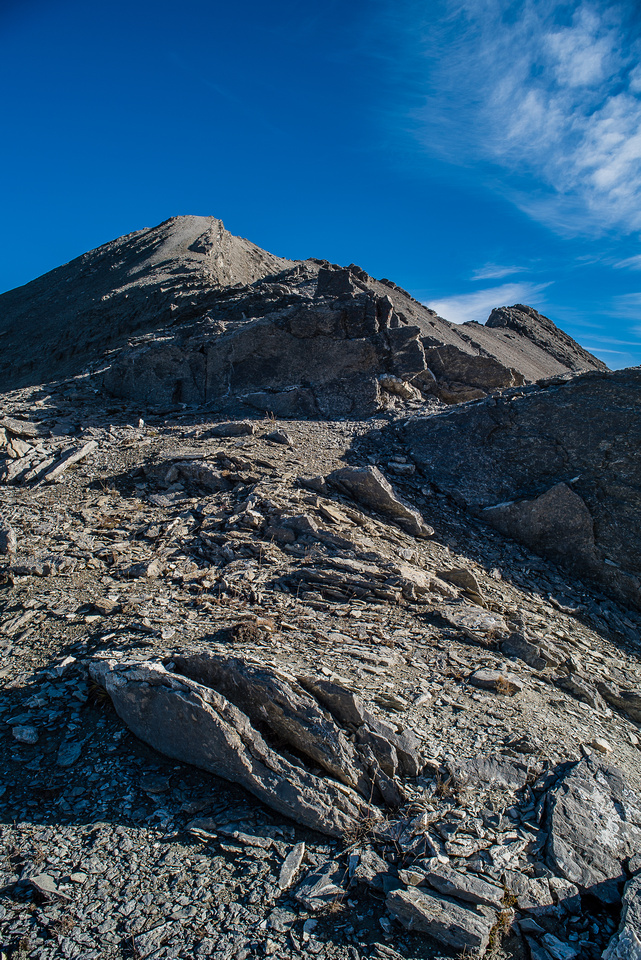 The route to the summit. From this vantage point the summit on the right looks higher, but it's not.