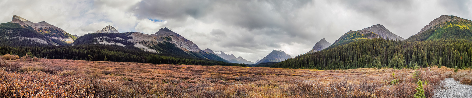 The meadows where we left the Spray River Valley trail. The Palliser warden cabin and Smuts Pass is on the left.