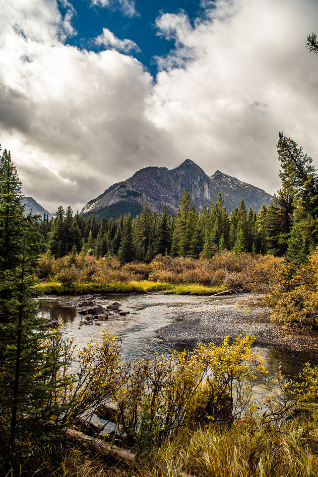 Mount Currie rises over the Spray River.