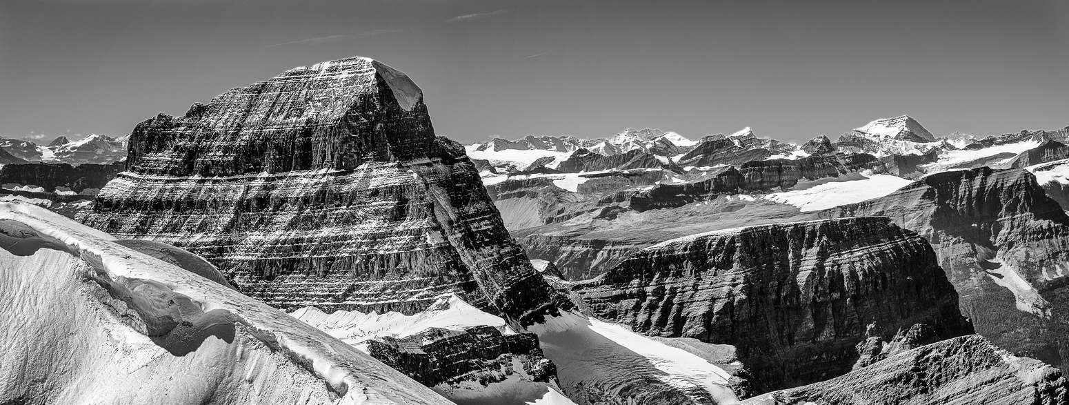 Mount Alberta's North Ridge and part of the North Face impress with their vertical relief from the lower north glacier.