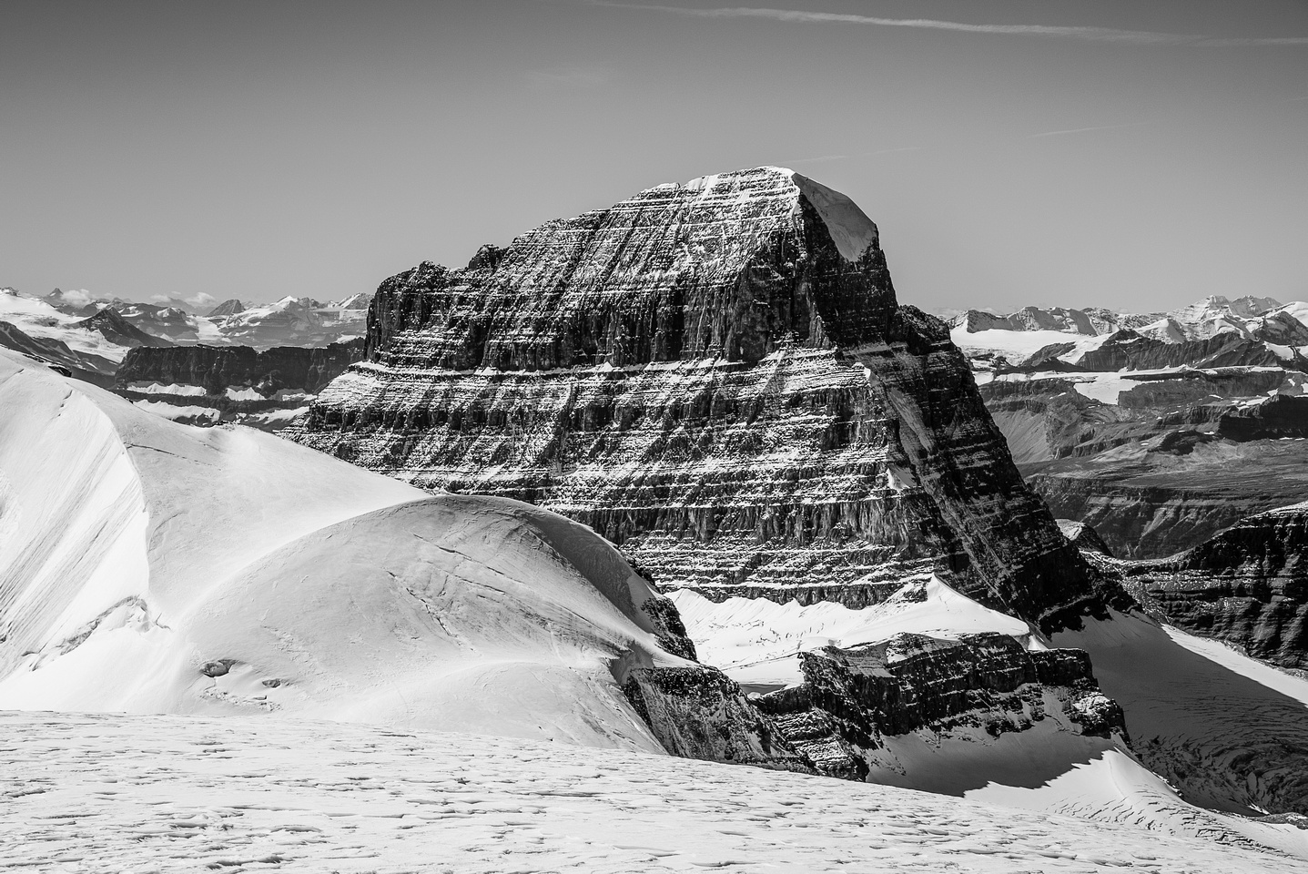 A great shot of the Northeast Ridge of Alberta. The North Face is in deep shadow.