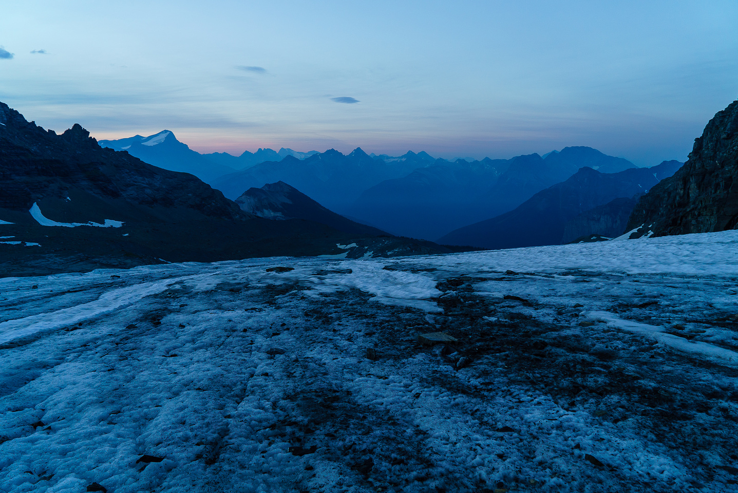 Lots of holes to avoid on this glacier, looking back at a nice sunrise.