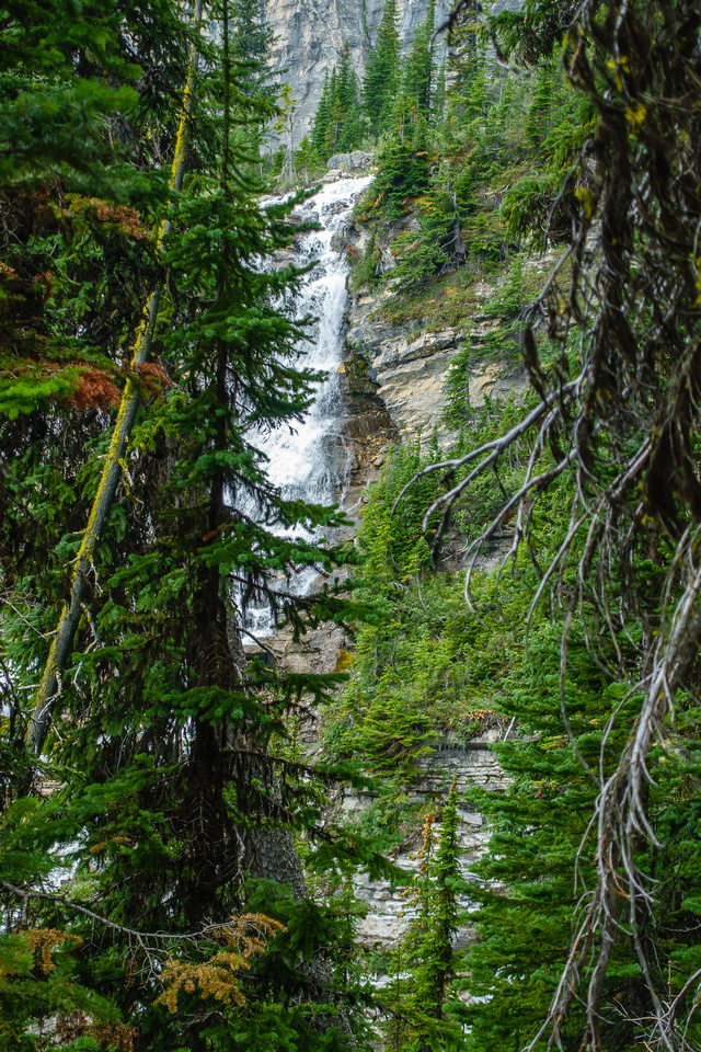 The South Glacier drainage creek plunges over this waterfall near the bivy site.