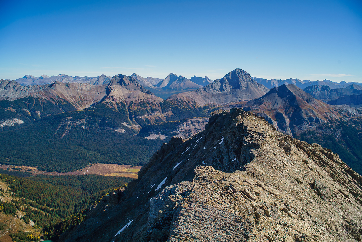 Summit view looking east. Includes Smuts, Birdwood, Snow Peak with Fortress, Gusty, Galatea, Tower, Engadine behind.