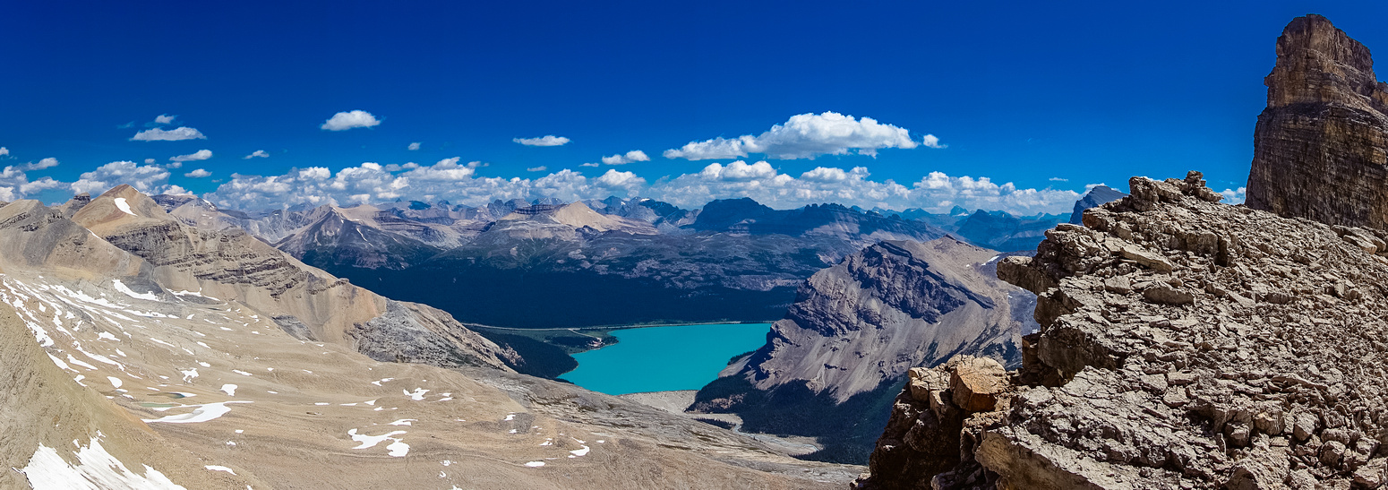 Great view of Bow Lake from near the col, Portal on the right.