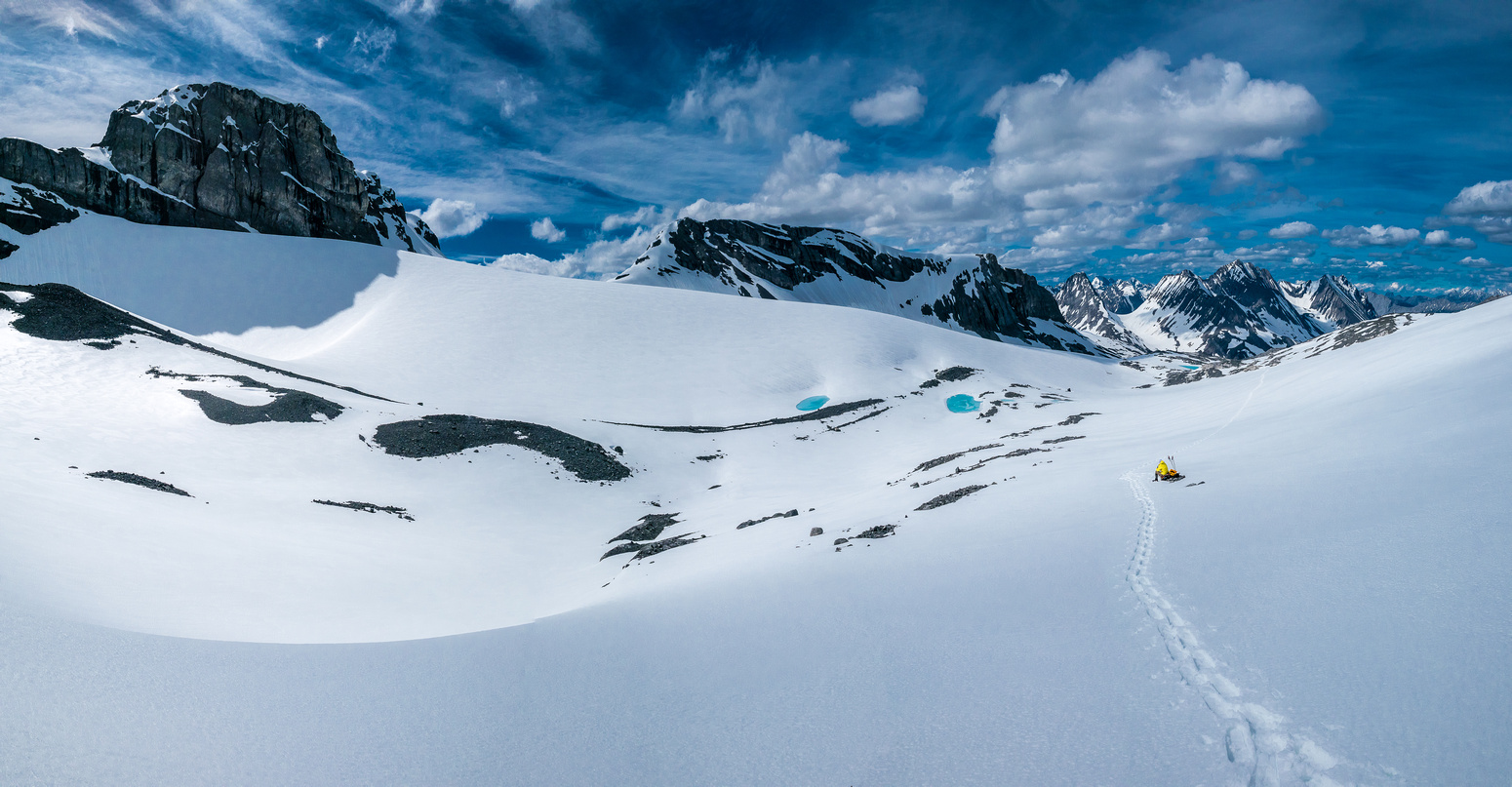 Looking back down the Mangin Glacier. See? We do take breaks. Occasionally. This was a darn nice spot too.