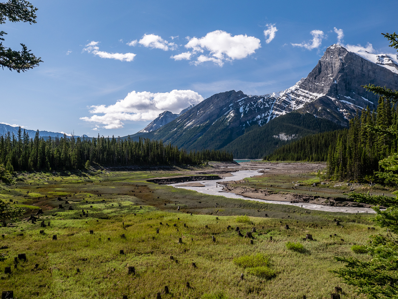 The Kananaskis River winds its way to the lake.