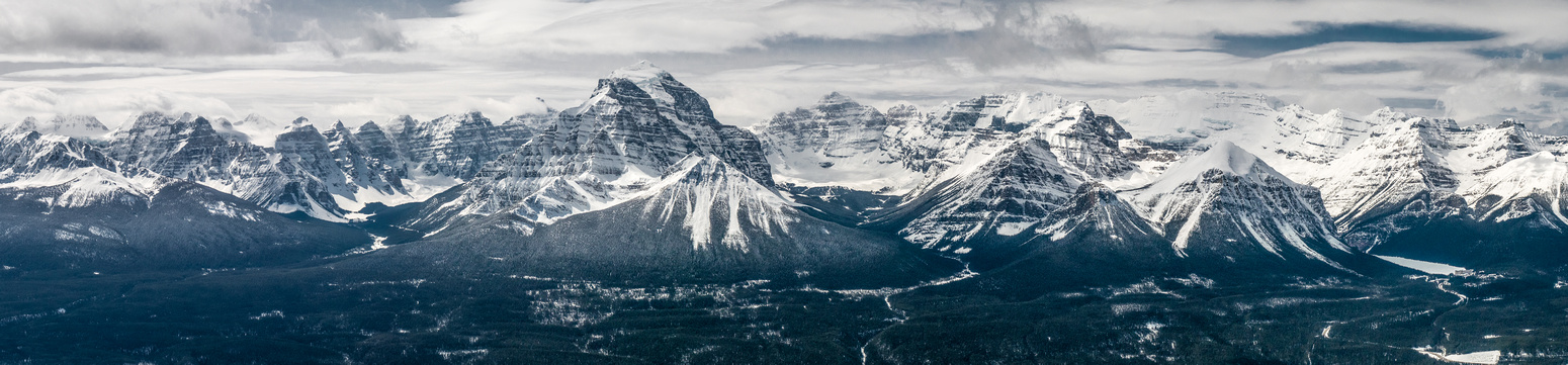 The Valley of Ten Peaks to the L of Mount Temple, with the Lake Louise group on the R.