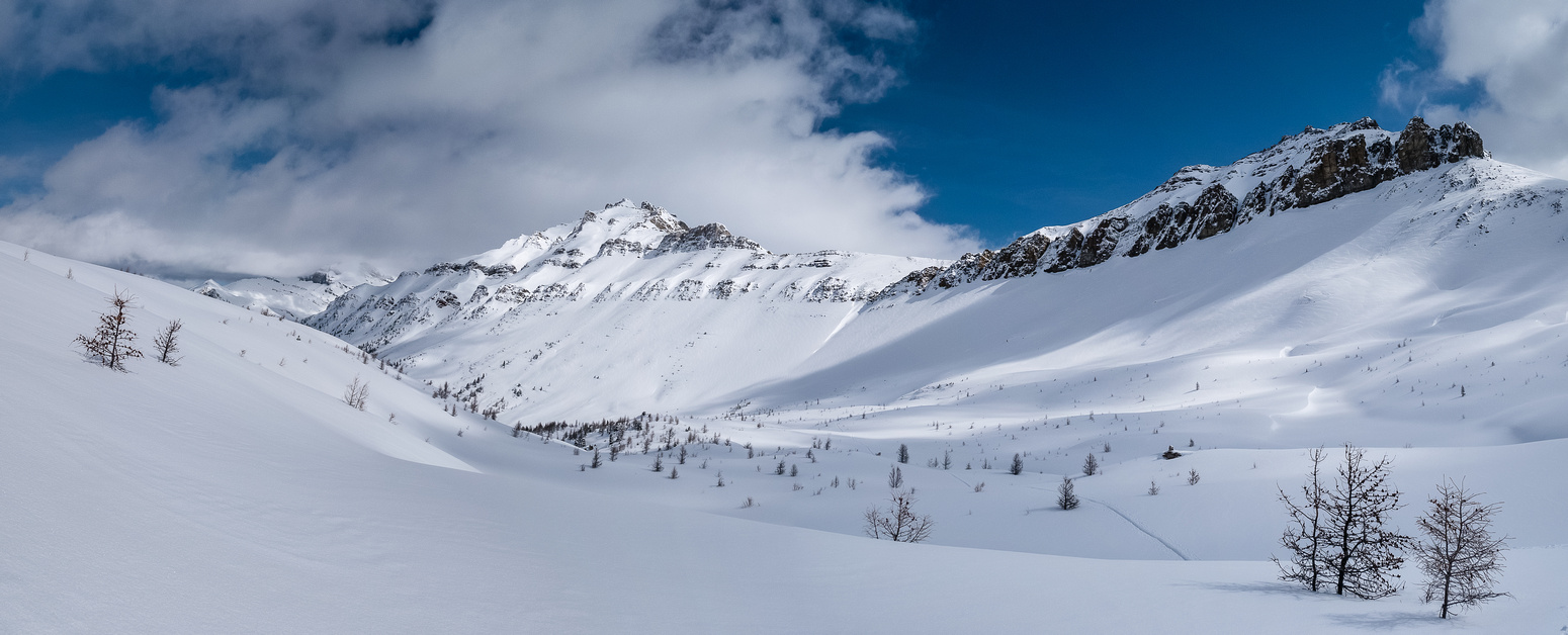Looking back at our ascent tracks with Unity on the right and Redoubt on the left.
