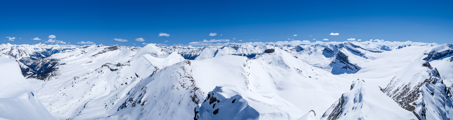 Mount Forbes (L), east towards Mount Willingdon (C) and south over the Wapta Icefield (R).