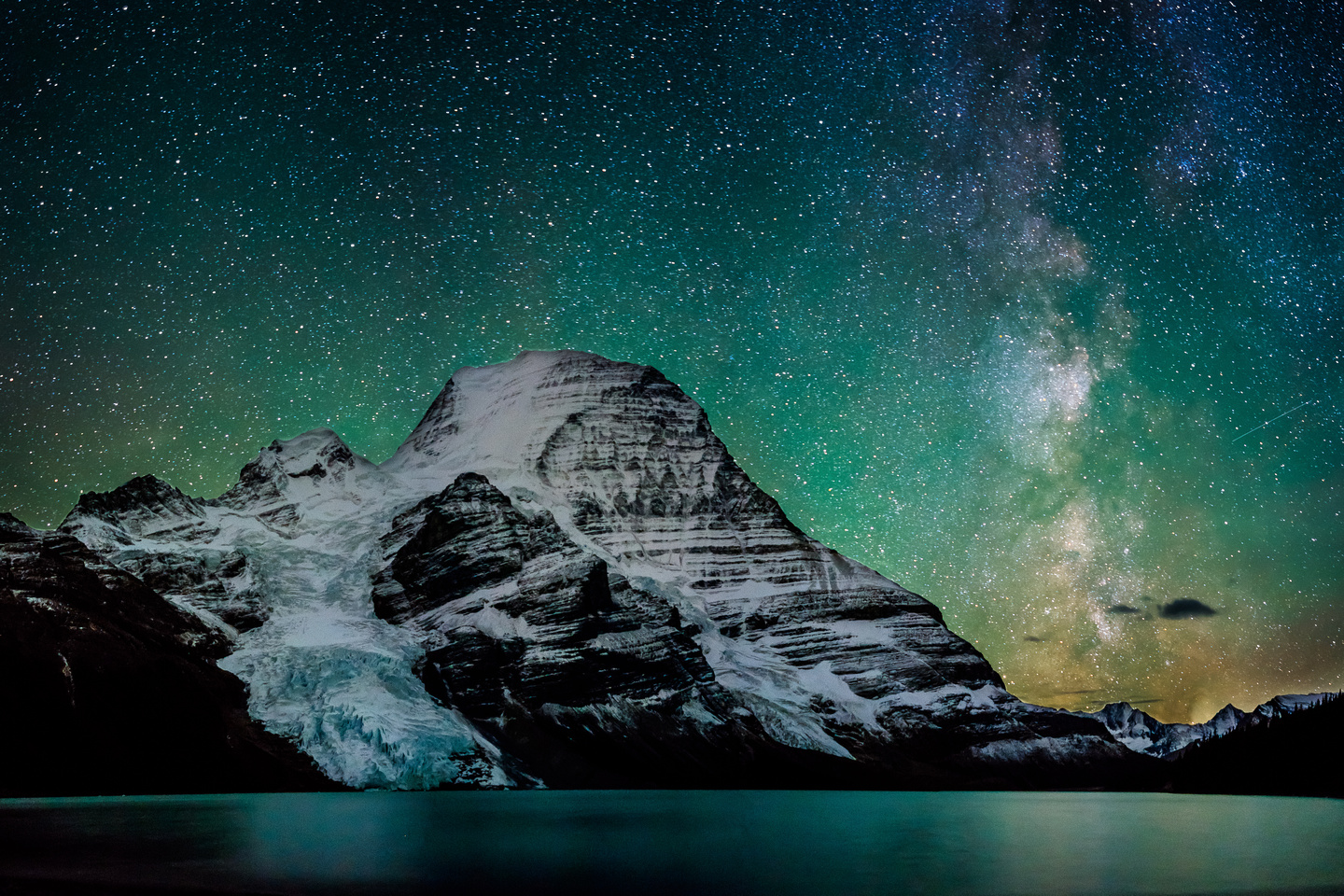Waffl, Helmet, the Berg Glacier and Mount Robson with the Milky way above.