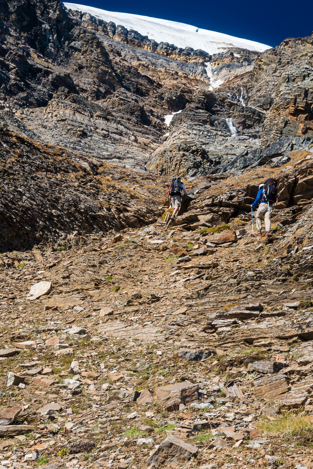 Loose and very steep terrain demanded careful attention with 5 of us ascending the gully.