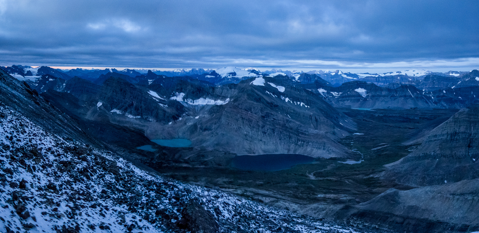 An early morning pano from freshly snowed scree. It's actually much darker than on this photo.
