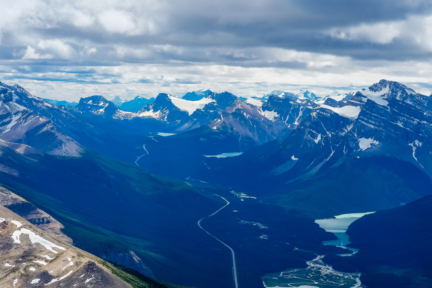Bow Peak, Crowfoot Peak, Mount Temple, Bow Lake, Jimmy Simpson, Peyto Lake and Mount Patterson are all visible here.