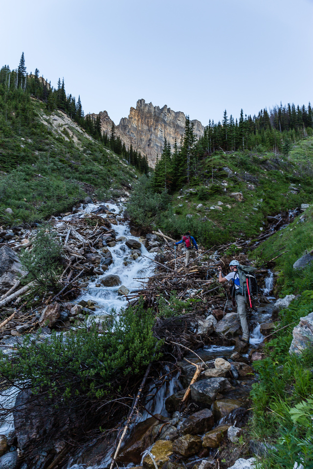 Crossing the branch in the upper stream to the upper hanging valley between Cline and Resolute.