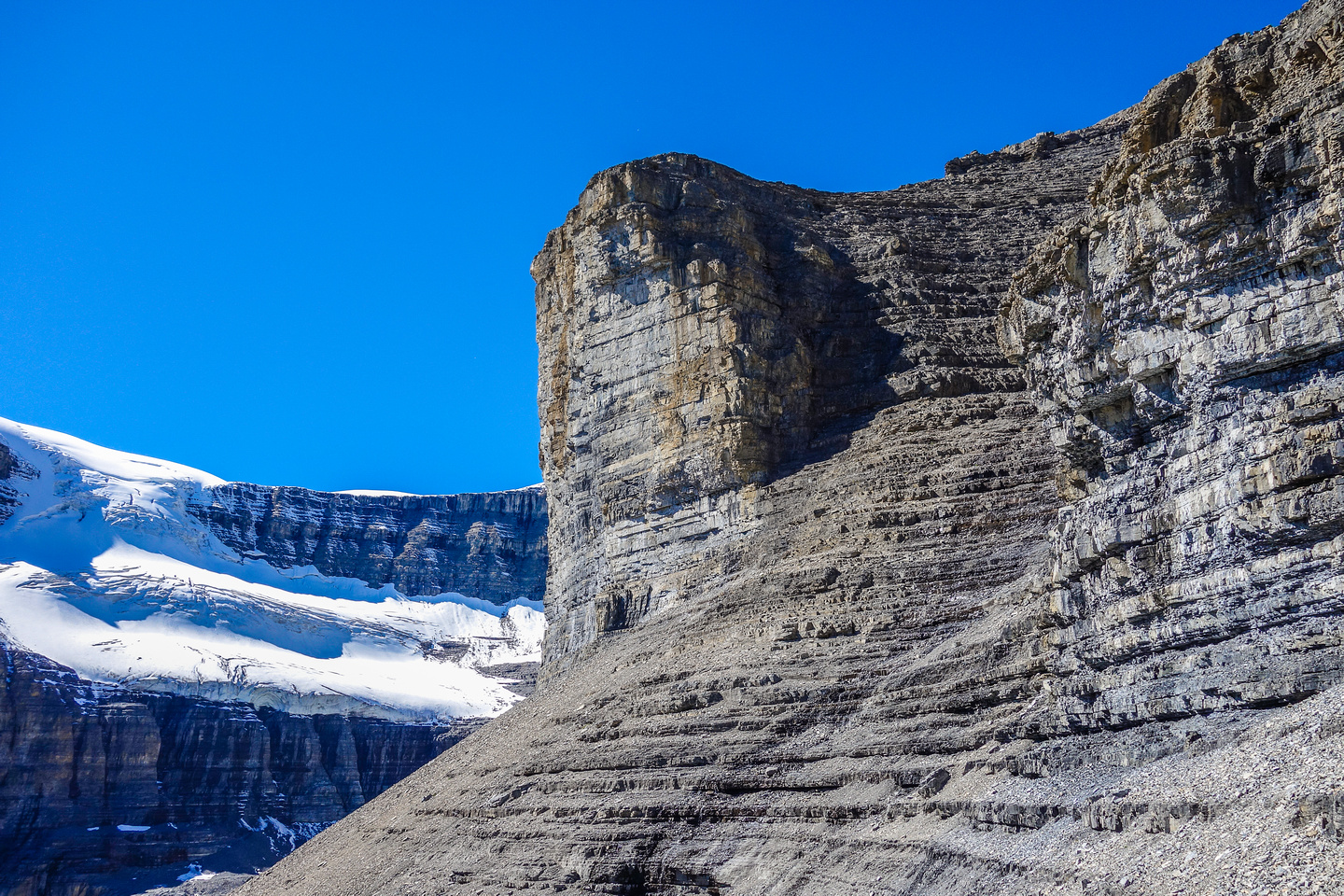"""The incredible """"Greek Amphitheater"""" is the 2nd chink in the armor guarding Amery's summit."""