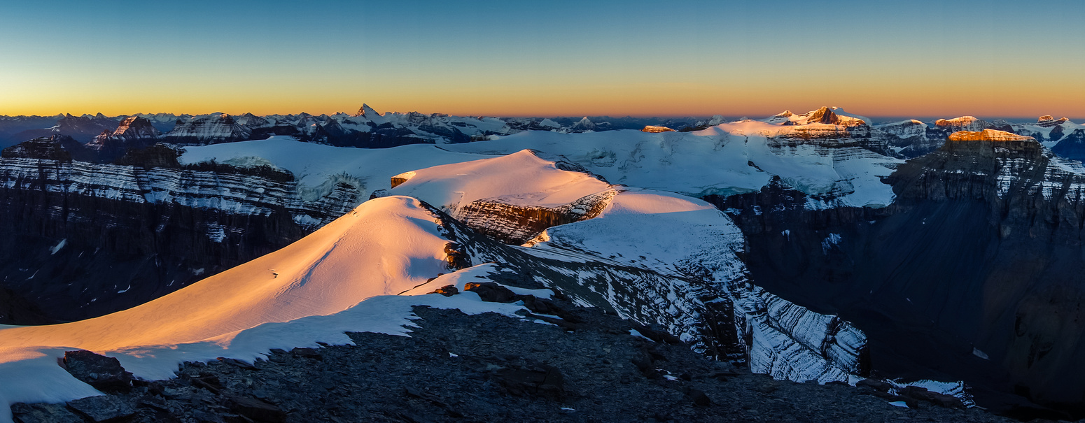 Looking over the Monchy Icefield to Forbes and the Lyells.