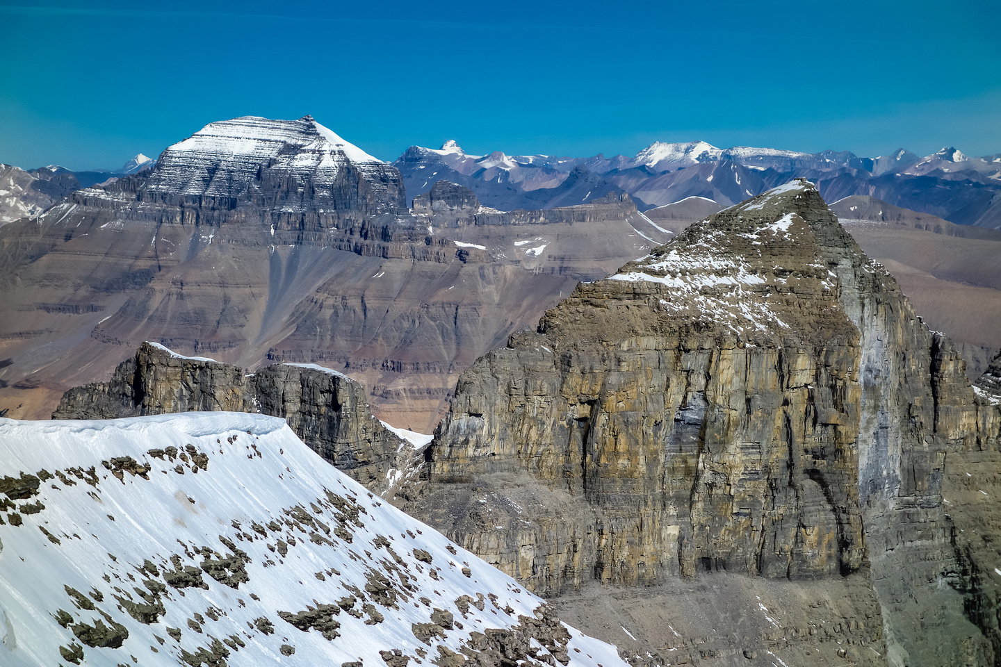 Mount Saskatchewan on the left and Willerval in the foreground with it's newly bared east face!