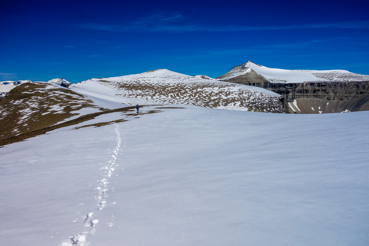 We avoided as much glacier as possible due to hidden crevasses with the fresh snow.