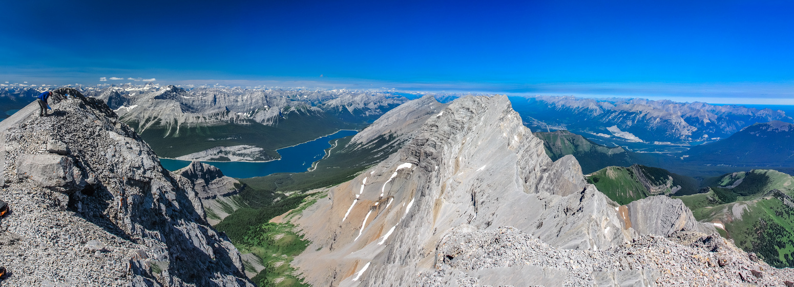 At the summit looking over Lougheed I with Canmore at lower right. Kind of neat to have the Spray Valley on the left and Bow Valley on the right.