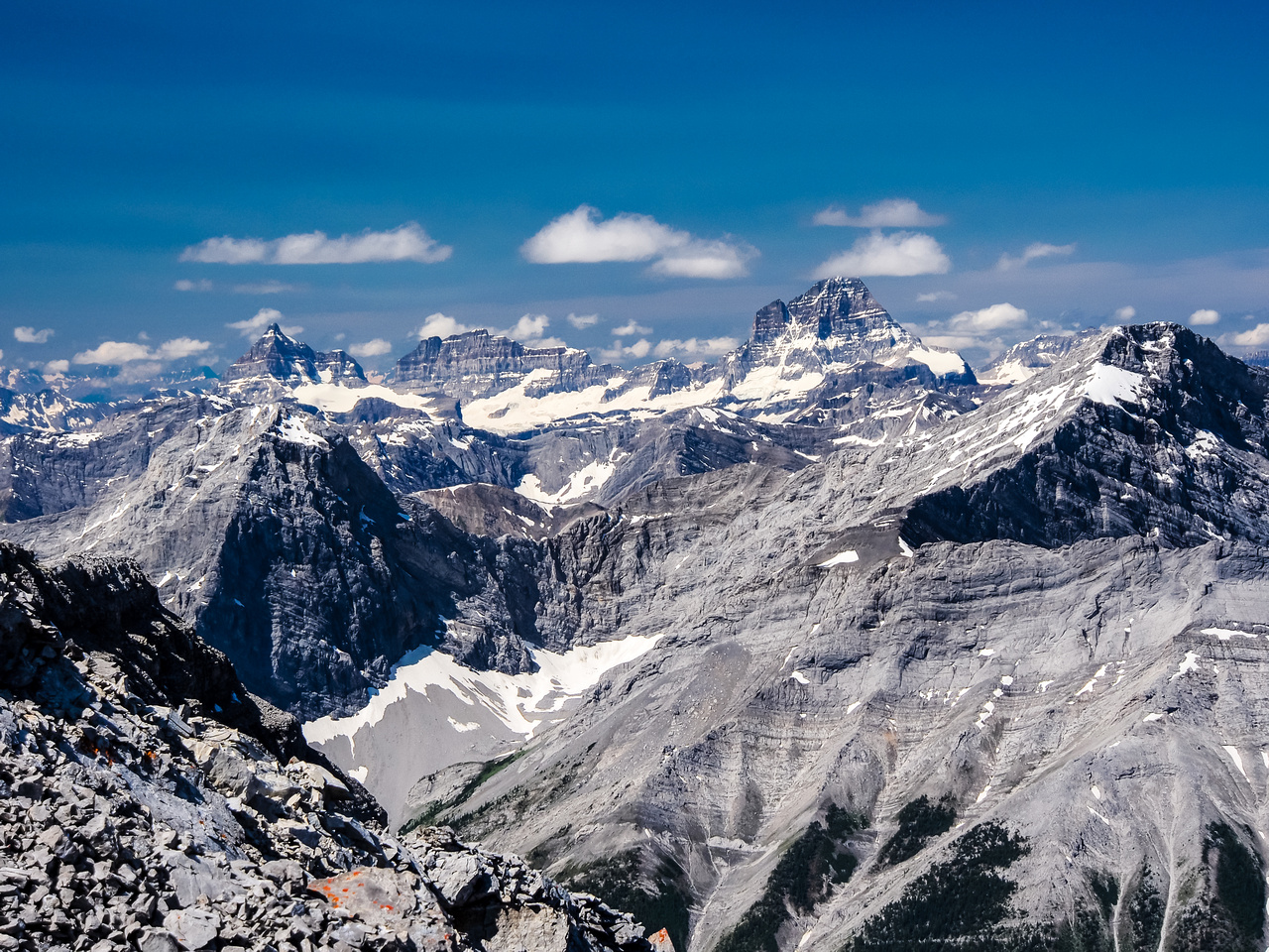 Nestor and Old Goat in the fg, Aye, Eon and the mighty Mount Assiniboine beyond.