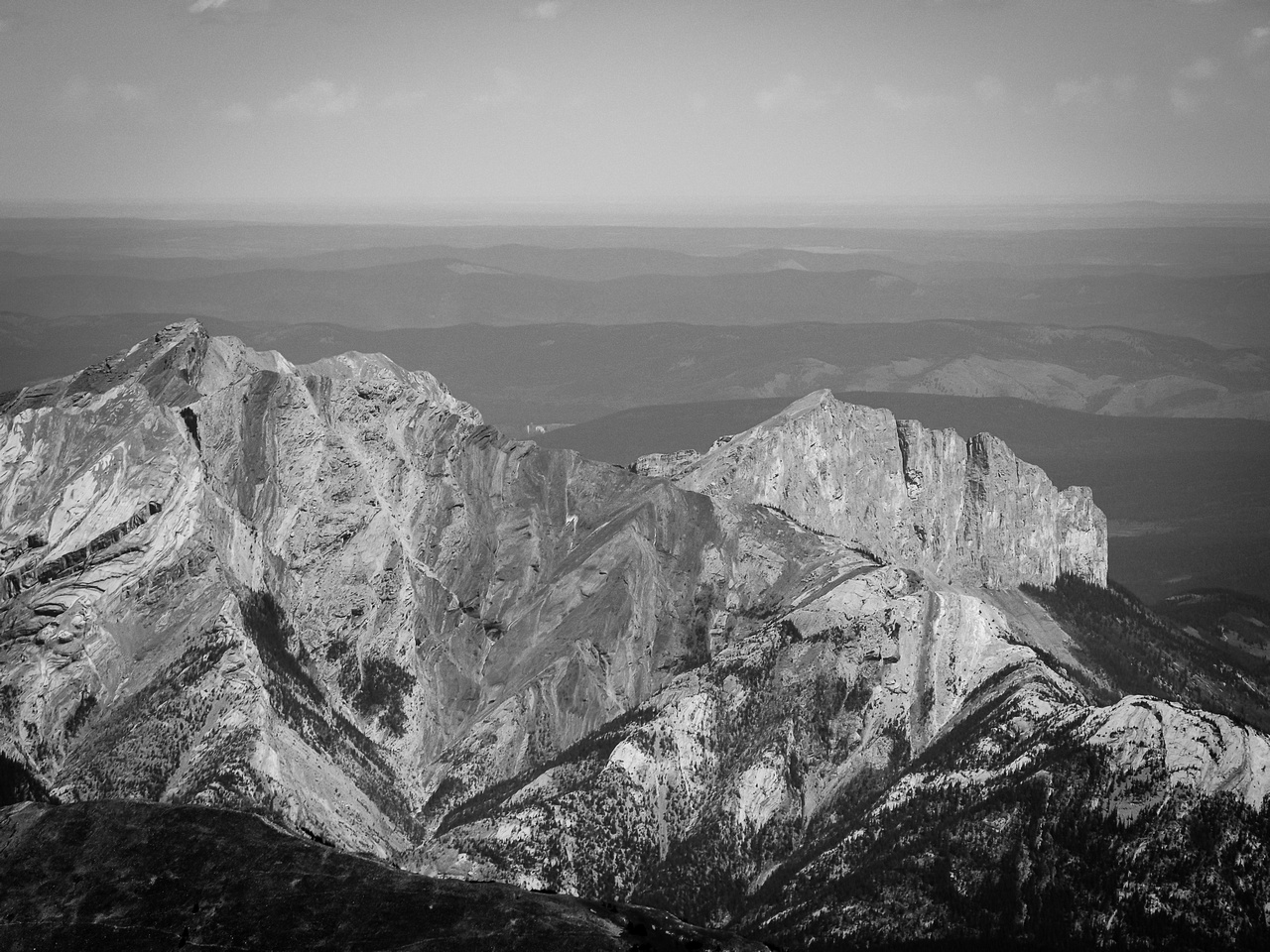 Loder, Door Jamb and Yamnuska look like little bumps from up here.