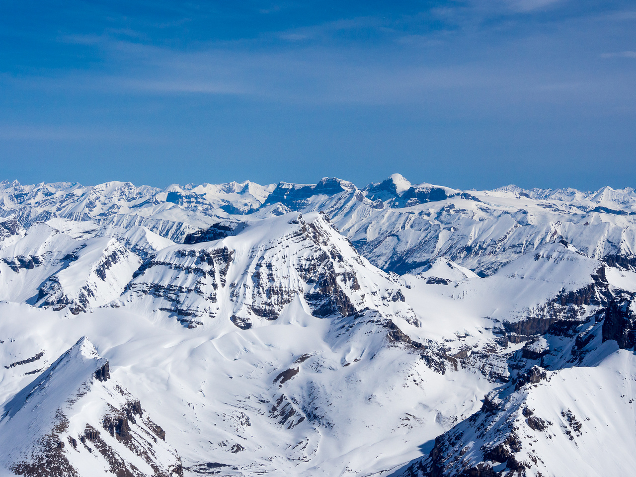 Mounts Warren and Brazeau in the far distance with Little Alberta in the lower left foreground and Woolley and Diadem at center.
