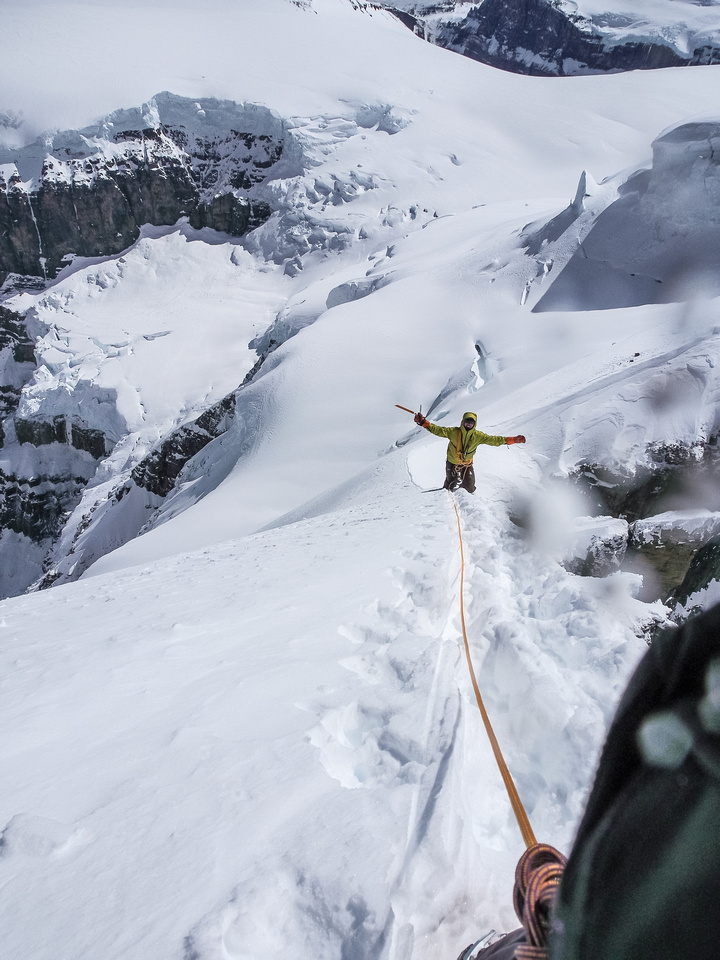 A look back down the arete at TJ who is obviously loving it!