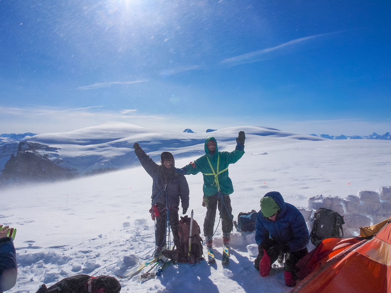 Fabrice and Josee stop by for a visit on their way up North Twin. Note the howling wind in the background!