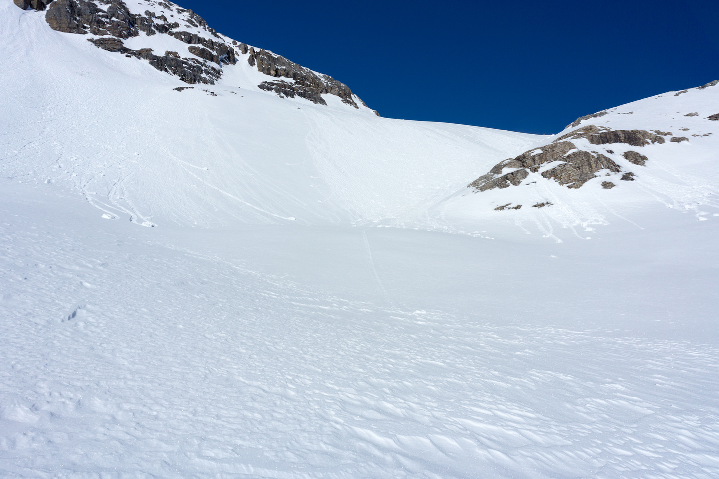 The slopes above our lunch spot are obviously avalanche terrain.