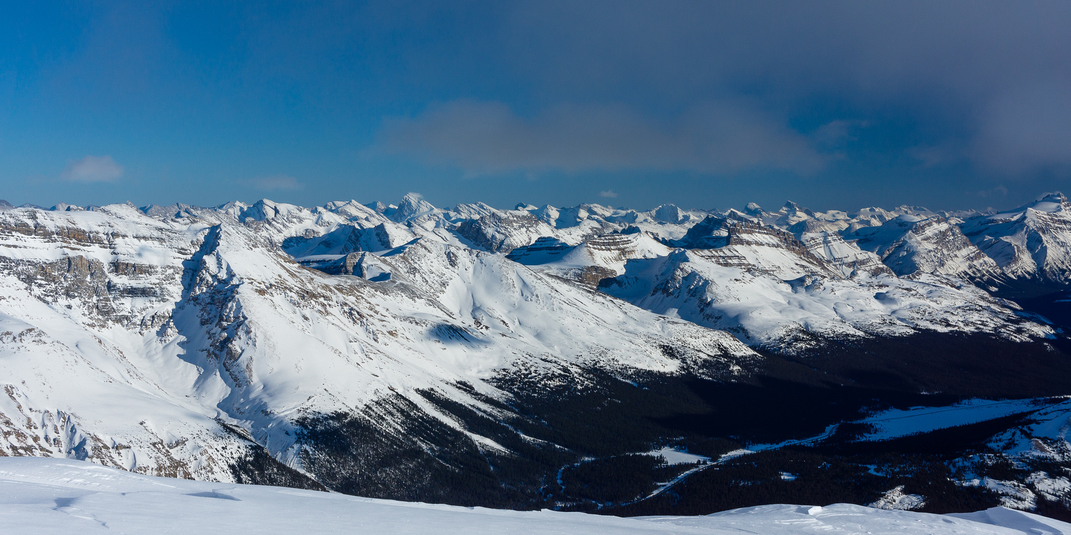 View over hwy 93 towards Dolomite, Puzzle and Cataract Peak.