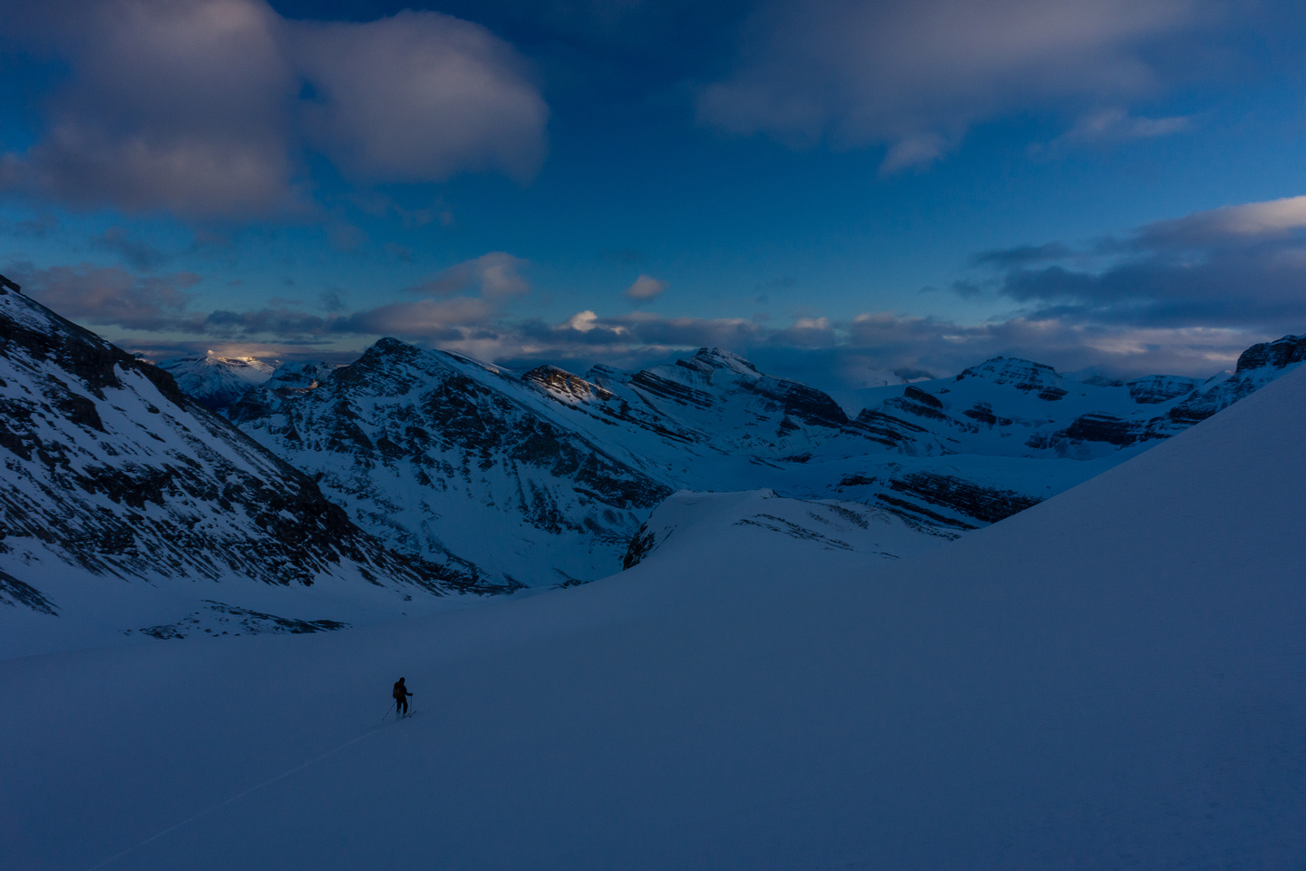The snow was crusty which made it hard to ski, especially in the late afternoon, flat lighting conditions we had.