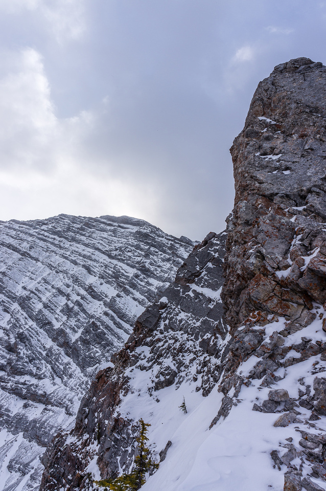 The ridge is steep in places, we detoured climber's right.